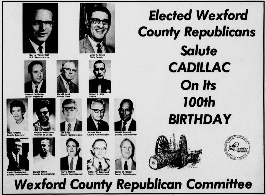 Advertisement in the Cadillac Evening News 1971 Centennial Edition.